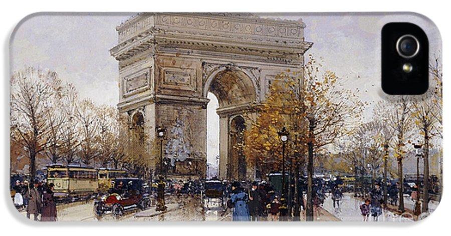 Allegiance IPhone 5 Case featuring the painting L'arc De Triomphe Paris by Eugene Galien-Laloue
