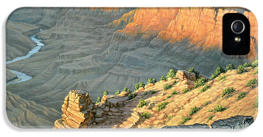 Landscape IPhone 5 Case featuring the painting Late Afternoon-desert View by Paul Krapf
