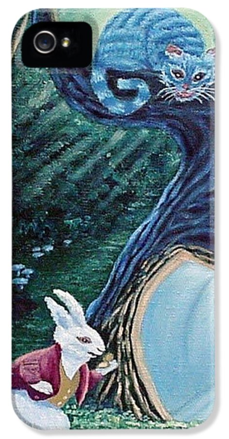 Rabbit IPhone 5 Case featuring the painting Late Again by Fran Brooks