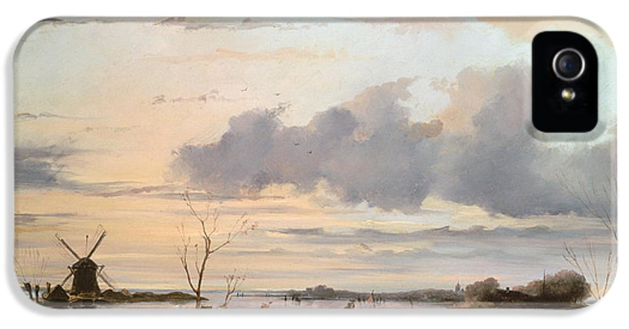 Windmill IPhone 5 Case featuring the painting Late Winter In Holland by Nicholas Jan Roosenboom