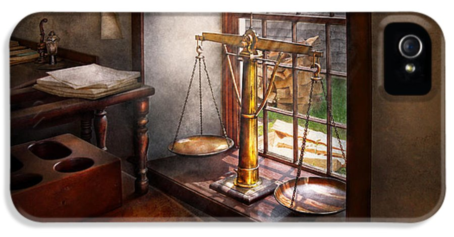 Hdr IPhone 5 Case featuring the photograph Lawyer - Scales Of Justice by Mike Savad
