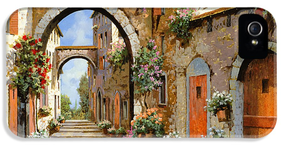 Landscape IPhone 5 Case featuring the painting Le Porte Rosse Sulla Strada by Guido Borelli