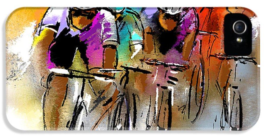 Sports IPhone 5 Case featuring the painting Le Tour De France 03 by Miki De Goodaboom