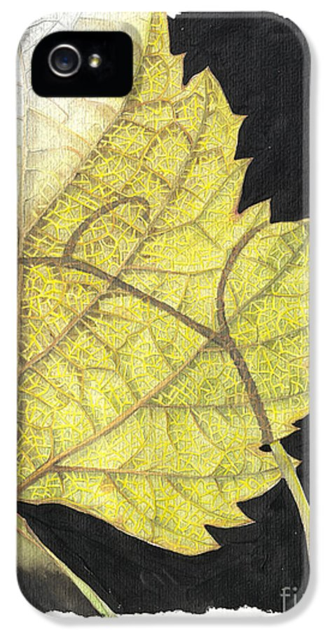 Foliage IPhone 5 Case featuring the painting Leaf by Elena Yakubovich