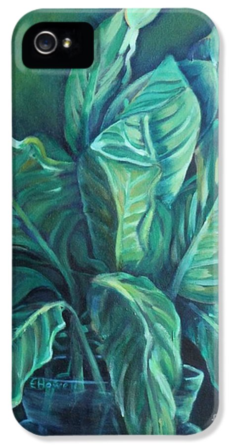 Green IPhone 5 Case featuring the painting Leaves In A Vase by Ellen Howell