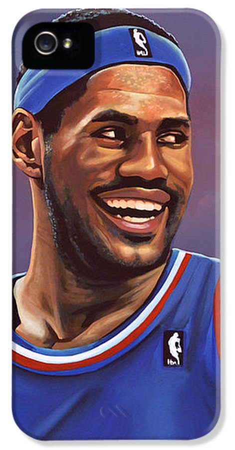 Lebron James IPhone 5 Case featuring the painting Lebron James by Paul Meijering