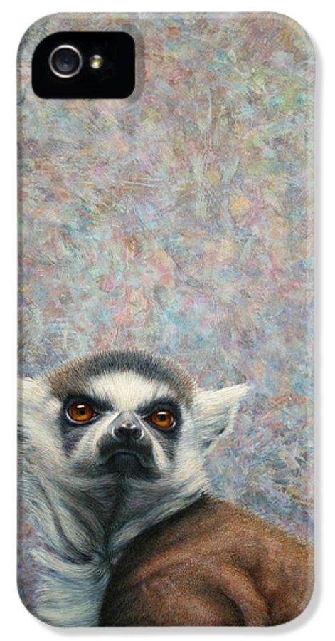 Lemur IPhone 5 Case featuring the painting Lemur by James W Johnson