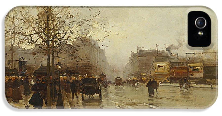 19th Century IPhone 5 Case featuring the painting Les Boulevards Paris by Eugene Galien-Laloue