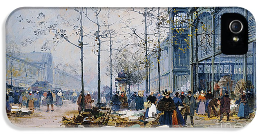 19th Century IPhone 5 Case featuring the painting Les Halles Paris by Jacques Lieven