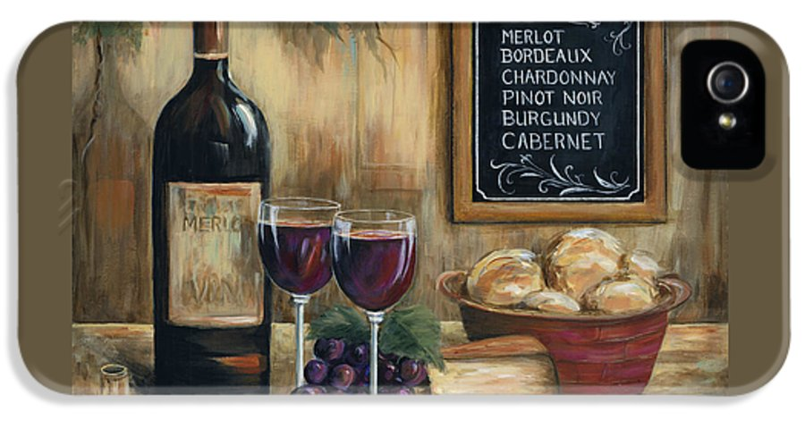 Wine IPhone 5 Case featuring the painting Les Vins by Marilyn Dunlap