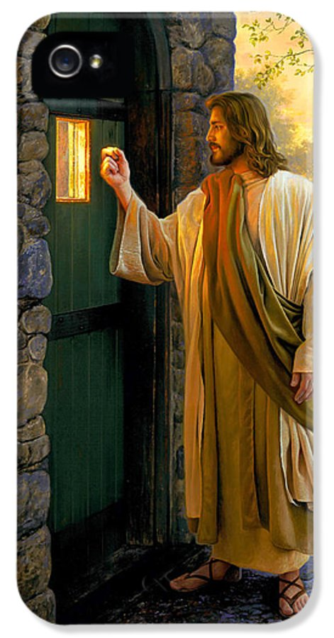 Jesus IPhone 5 Case featuring the painting Let Him In by Greg Olsen