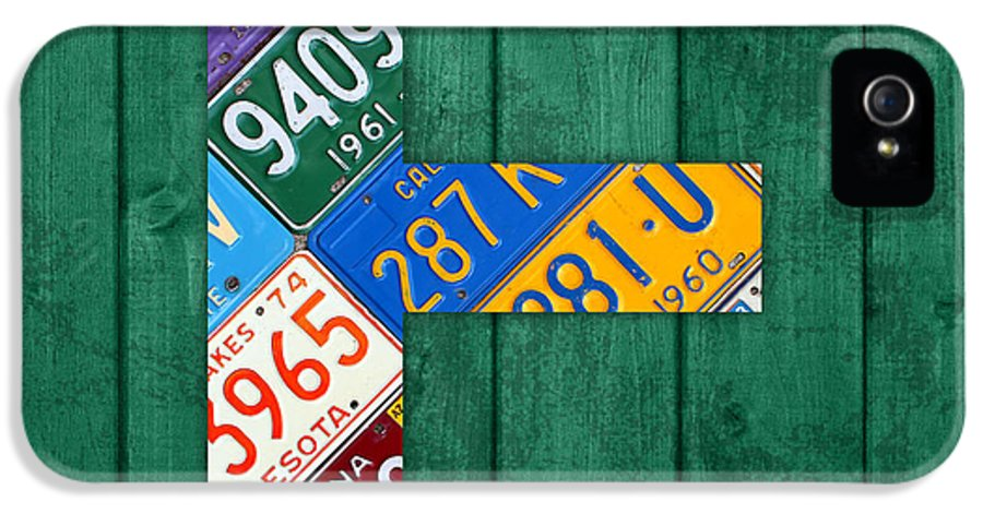 Letter IPhone 5 Case featuring the mixed media Letter E Alphabet Vintage License Plate Art by Design Turnpike