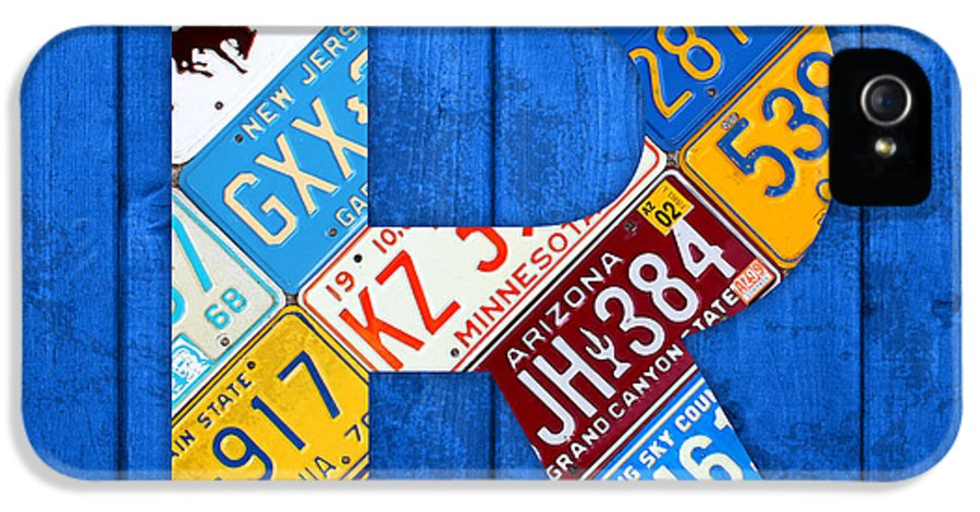 Letter IPhone 5 Case featuring the mixed media Letter R Alphabet Vintage License Plate Art by Design Turnpike