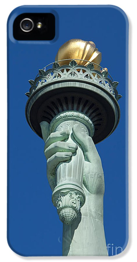 Statue IPhone 5 Case featuring the photograph Liberty Torch by Brian Jannsen