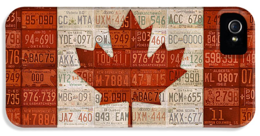 License Plate IPhone 5 Case featuring the mixed media License Plate Art Flag Of Canada by Design Turnpike