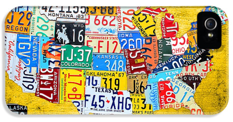License Plate Map IPhone 5 Case featuring the mixed media License Plate Art Map Of The United States On Yellow Board by Design Turnpike