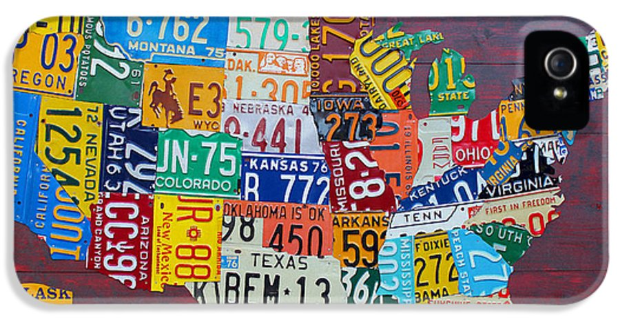 Art IPhone 5 Case featuring the mixed media License Plate Map Of The United States by Design Turnpike