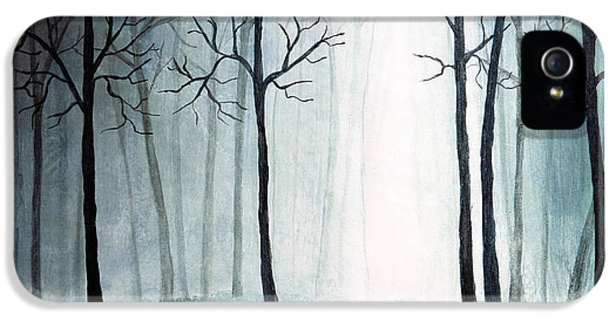 Art IPhone 5 Case featuring the painting Light Through The Forest by Nirdesha Munasinghe