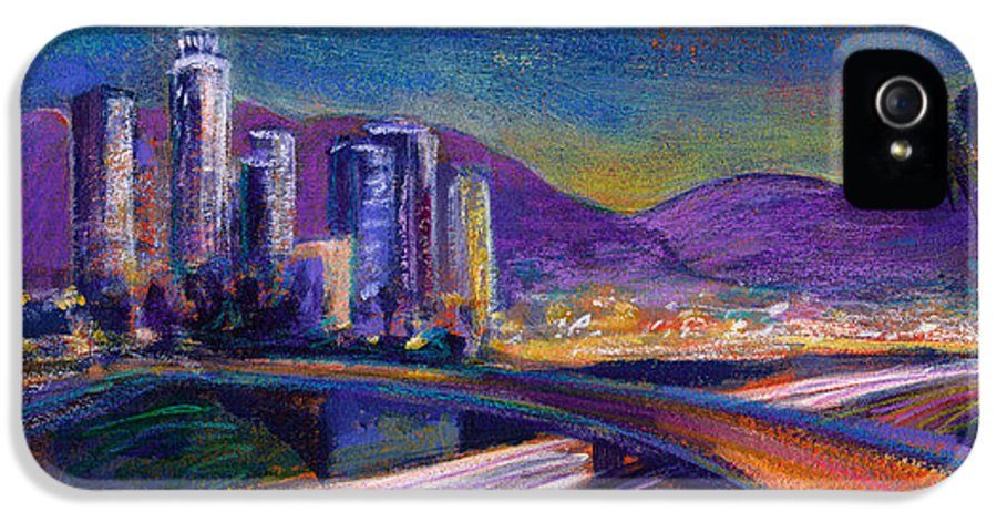 Downtown IPhone 5 Case featuring the painting Light Up The Night by Athena Mantle