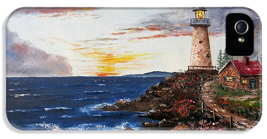 Lighthouse Painting IPhone 5 Case featuring the painting Lighthouse Road At Sunset by Lee Piper