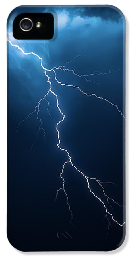 Lightning IPhone 5 Case featuring the photograph Lightning With Cloudscape by Johan Swanepoel