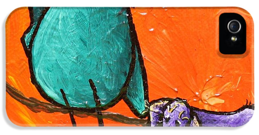 Limb Birds - You Get It! IPhone 5 Case featuring the painting Limb Birds - You Get It by Linda Eversole
