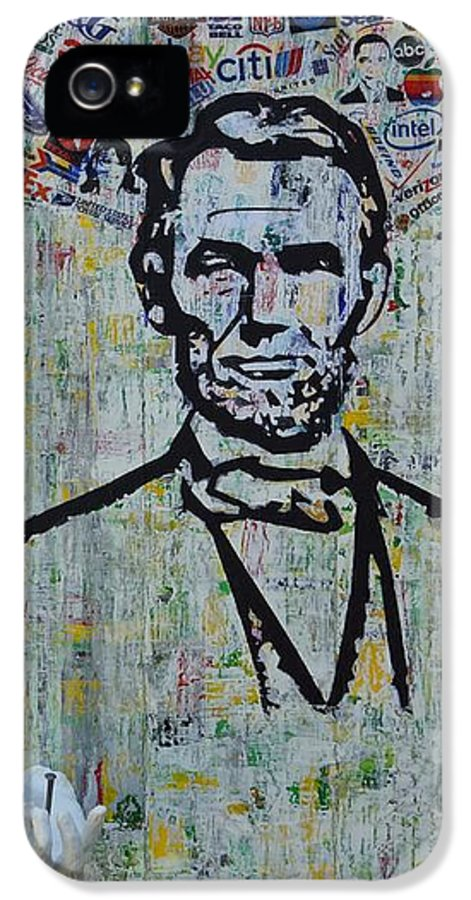Abraham Lincoln American President IPhone 5 Case featuring the painting Lincoln- Hawaii by Alireza Vazirabadi