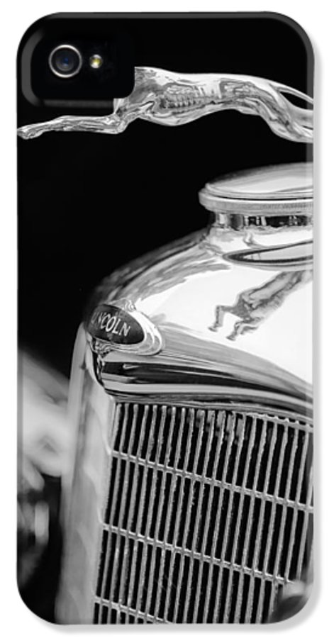 Lincoln Hood Ornament IPhone 5 Case featuring the photograph Lincoln Hood Ornament - Grille Emblem -1187bw by Jill Reger