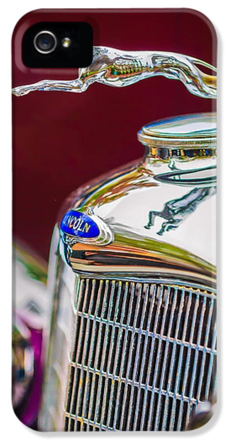 Lincoln Hood Ornament IPhone 5 Case featuring the photograph Lincoln Hood Ornament - Grille Emblem -1187c by Jill Reger