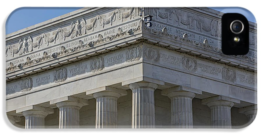 Abraham Lincoln Memorial IPhone 5 Case featuring the photograph Lincoln Memorial Columns by Susan Candelario