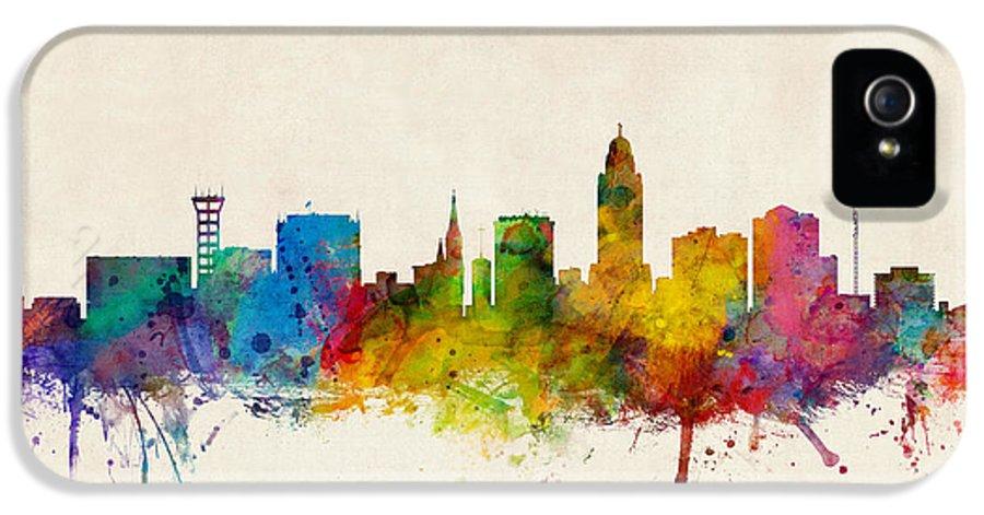 City IPhone 5 Case featuring the digital art Lincoln Nebraska Skyline by Michael Tompsett