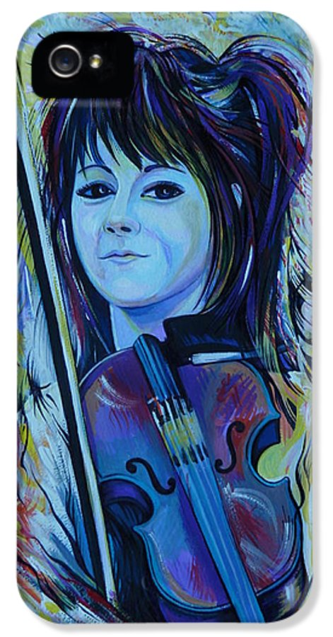 Portrait IPhone 5 Case featuring the painting Lindsey Stirling by Anna Duyunova