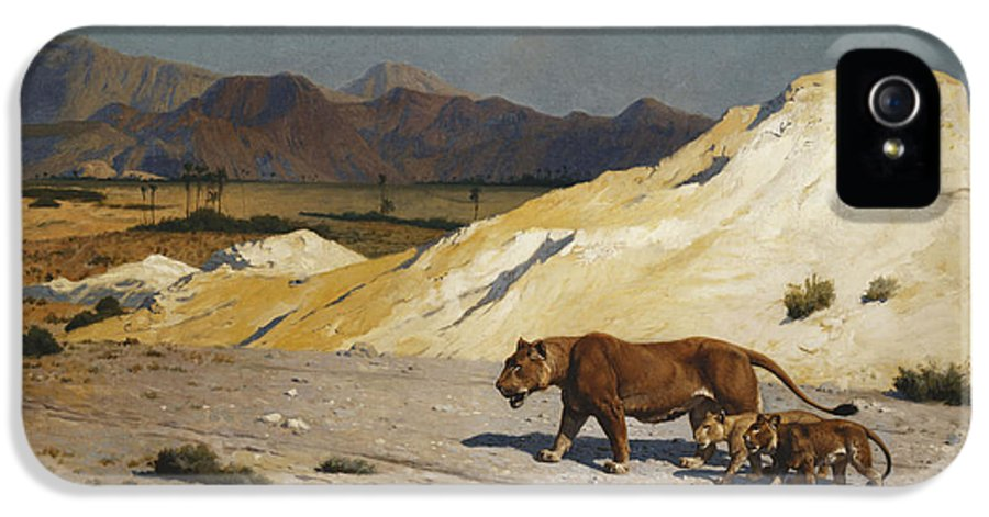 Academic IPhone 5 Case featuring the painting Lioness And Cubs by Jean Leon Gerome