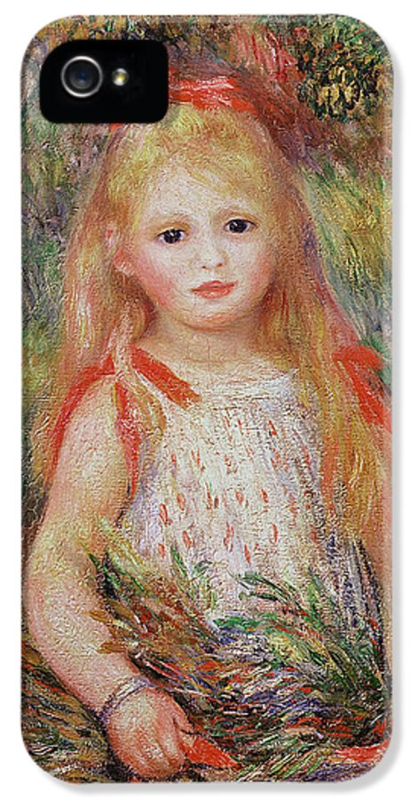 Child IPhone 5 Case featuring the painting Little Girl Carrying Flowers by Pierre Auguste Renoir