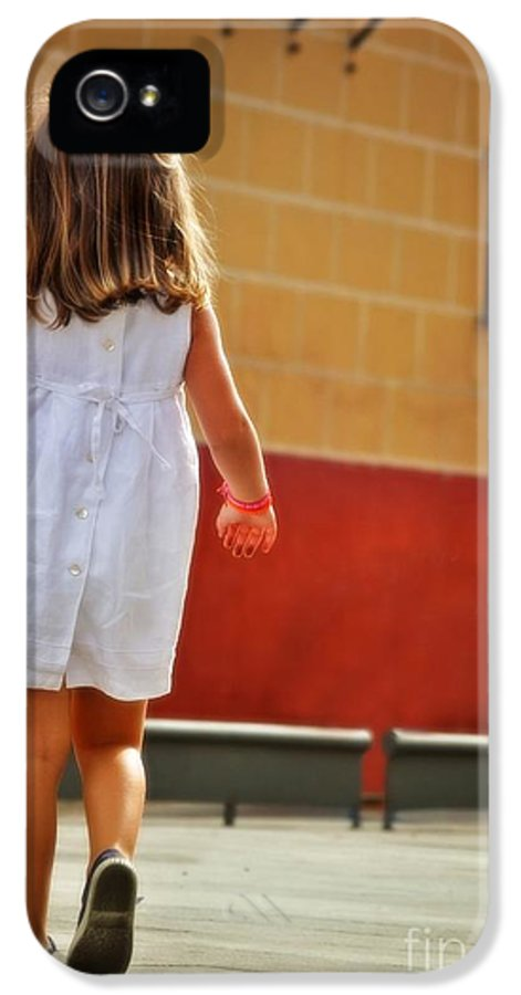 Little Girl In White Dress IPhone 5 Case featuring the photograph Little Girl In White Dress by Mary Machare