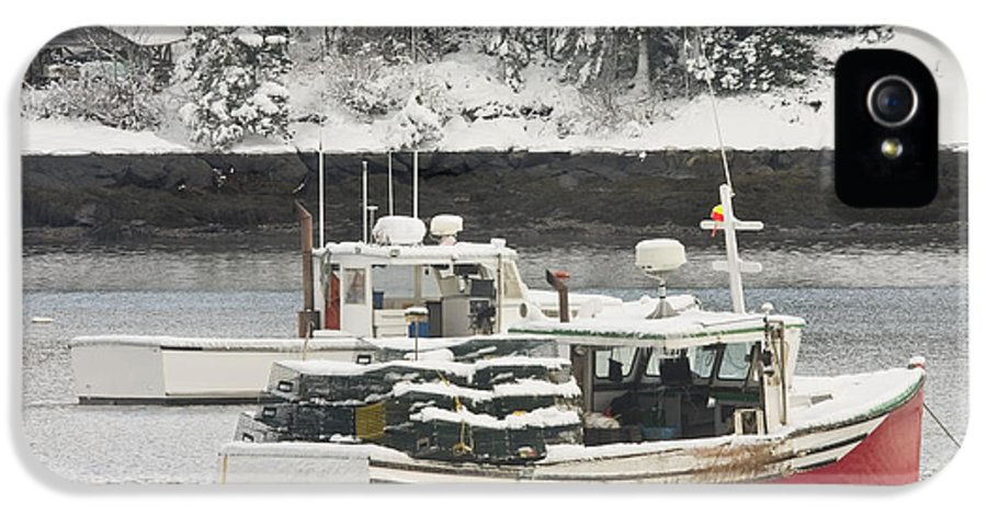 Tenants Harbor IPhone 5 Case featuring the photograph Lobster Boats After Snowstorm In Tenants Harbor Maine by Keith Webber Jr