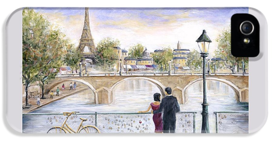 Paris IPhone 5 Case featuring the painting Locked In Love by Marilyn Dunlap