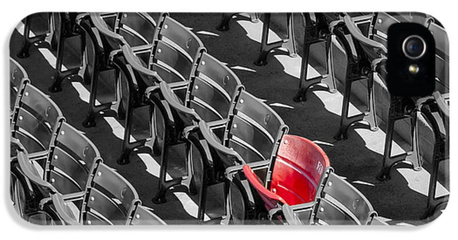 #21 IPhone 5 Case featuring the photograph Lone Red Number 21 Fenway Park Bw by Susan Candelario