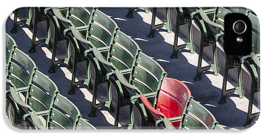 #21 IPhone 5 Case featuring the photograph Lone Red Number 21 Fenway Park by Susan Candelario