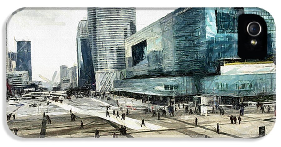 La Defense IPhone 5 Case featuring the pastel Loneliness And Business In Paris by Daliana Pacuraru