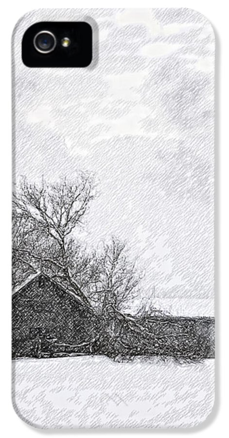 Snow IPhone 5 / 5s Case featuring the photograph Loneliness Sketch by Steve Harrington