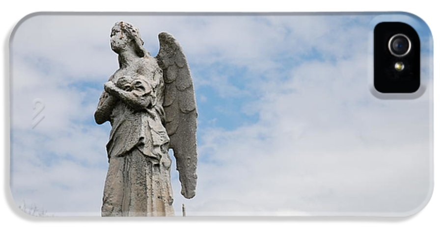 Cemetery IPhone 5 / 5s Case featuring the photograph Lonely Angel by Jennifer Ancker