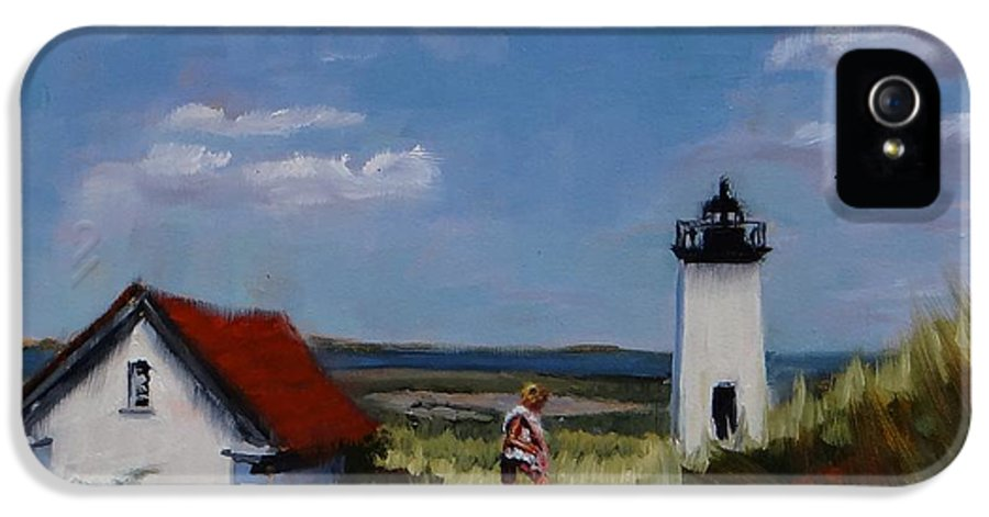 Lighthouse IPhone 5 Case featuring the painting Long Point Lighthouse by Laura Lee Zanghetti