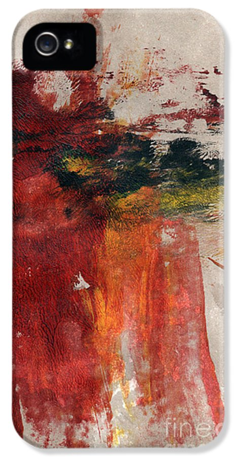 Abstract Painting IPhone 5 Case featuring the painting Long Time Coming by Linda Woods