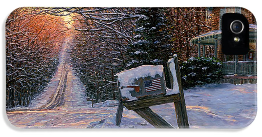 Winter Landscape IPhone 5 Case featuring the painting Long Way From Home by Doug Kreuger