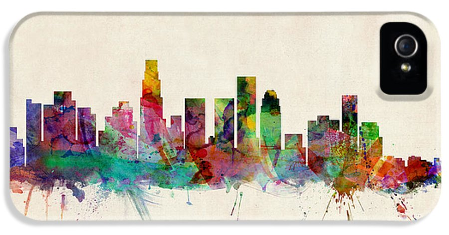 Watercolour IPhone 5 Case featuring the digital art Los Angeles City Skyline by Michael Tompsett