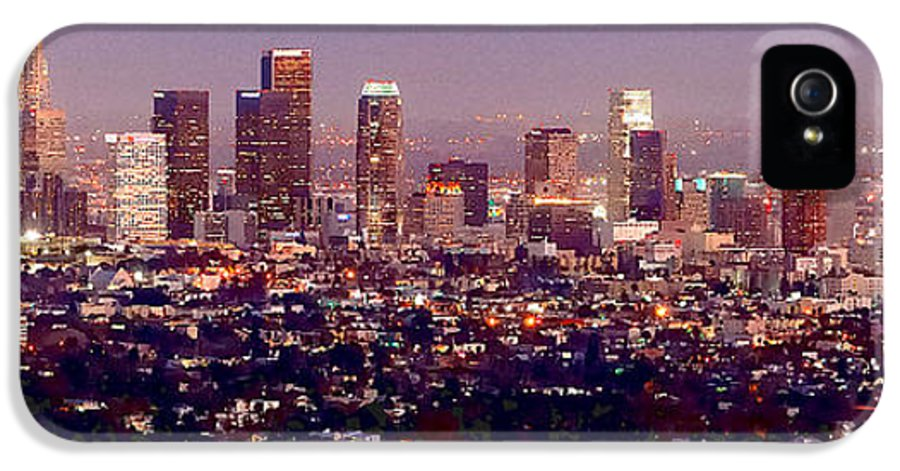 Los Angeles Skyline IPhone 5 Case featuring the photograph Los Angeles Skyline At Dusk by Jon Holiday