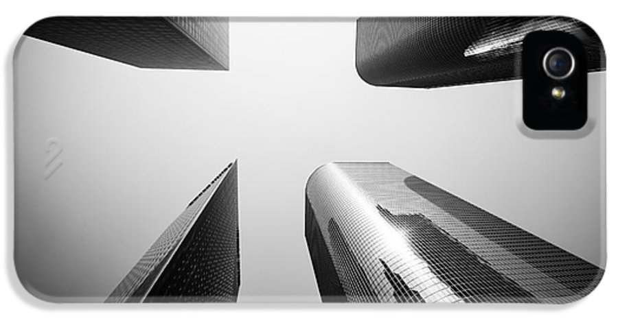 America IPhone 5 Case featuring the photograph Los Angeles Skyscraper Buildings In Black And White by Paul Velgos