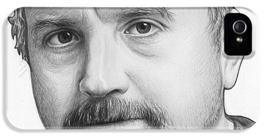 Louie Ck IPhone 5 Case featuring the drawing Louis Ck Portrait by Olga Shvartsur