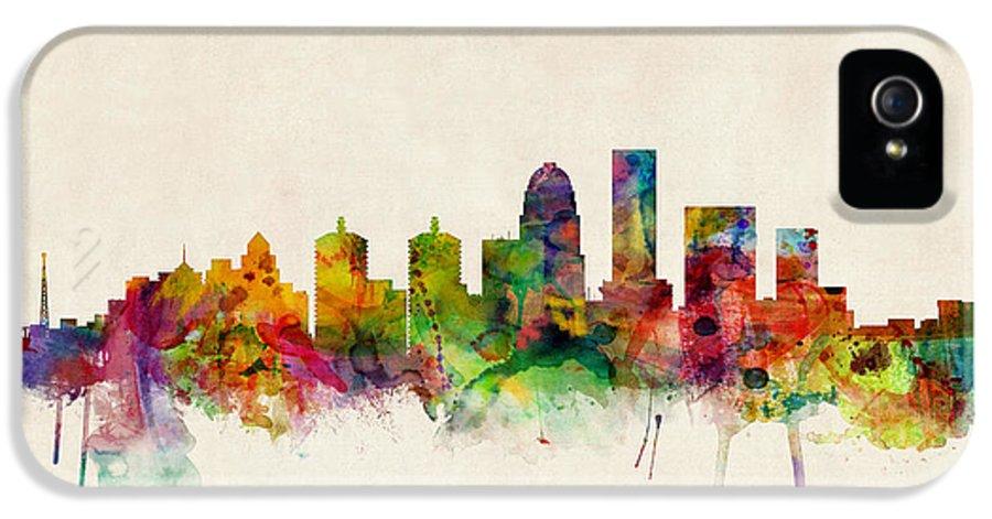 Watercolour IPhone 5 Case featuring the digital art Louisville Kentucky City Skyline by Michael Tompsett
